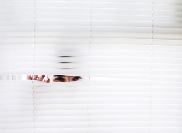 person peeking through blinds