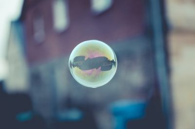 single bubble floating in the air