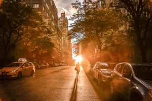 New York City street at sunset