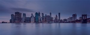 view of NYC skyline from the water