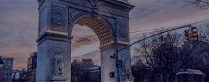 Union Square Park arch with blue filter